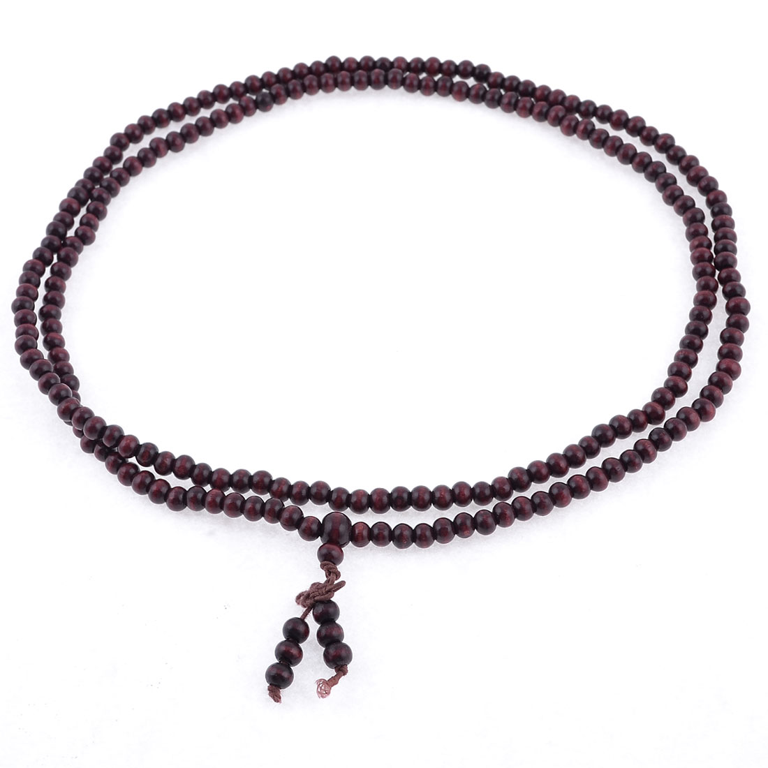 Burgundy 6mm Dia 216 Buddha 98cm Girth Wooden Beads Necklace for Buddhist Prayer