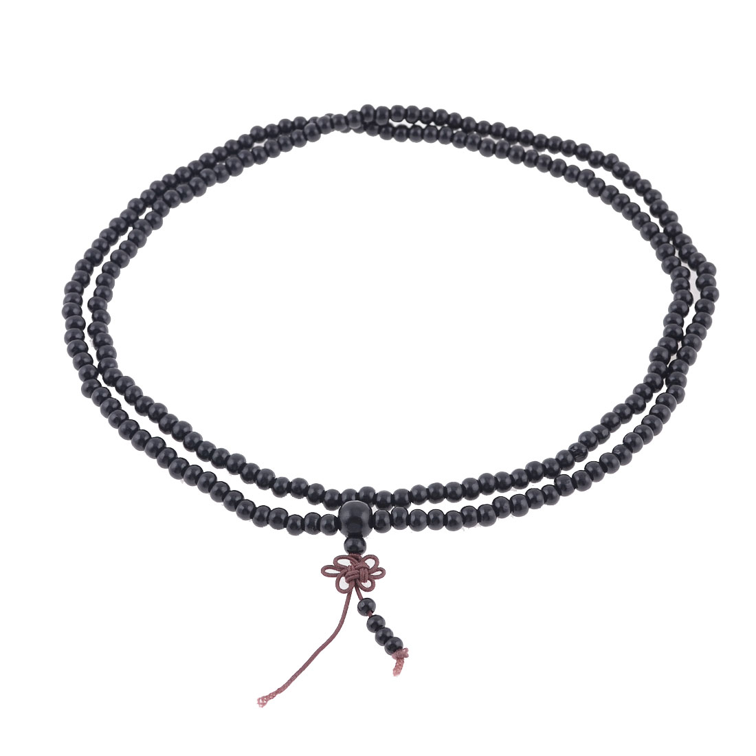 Stretch Strap 6mm Dia Beads Sandalwood Buddhist Prayer Necklace Black