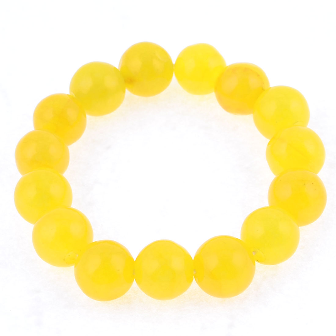 Yellow Round Shaped Buddha Character Beads Stretch Bracelet for Woman