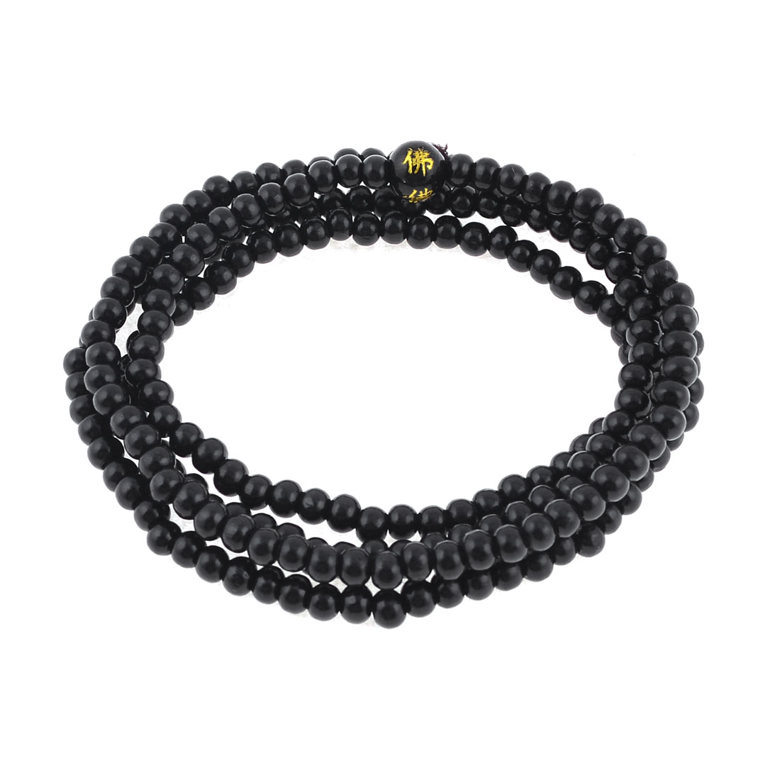 Stretch Strap 5mm Dia Bead Sandalwood Buddhist Prayer Necklace Black