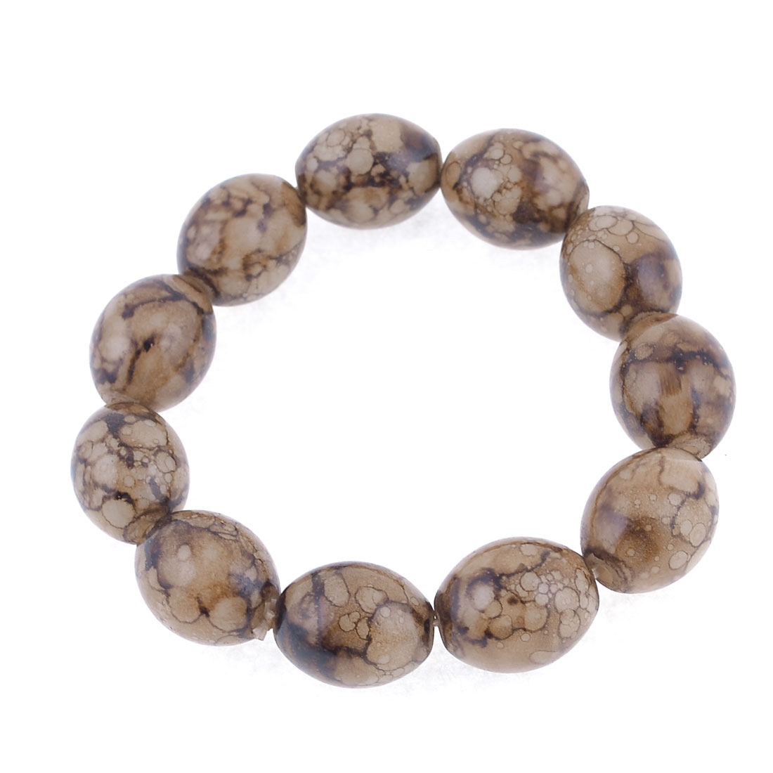 Elasticated Oval Small Beads Brown Wrist Prayer Bracelet for Unisex