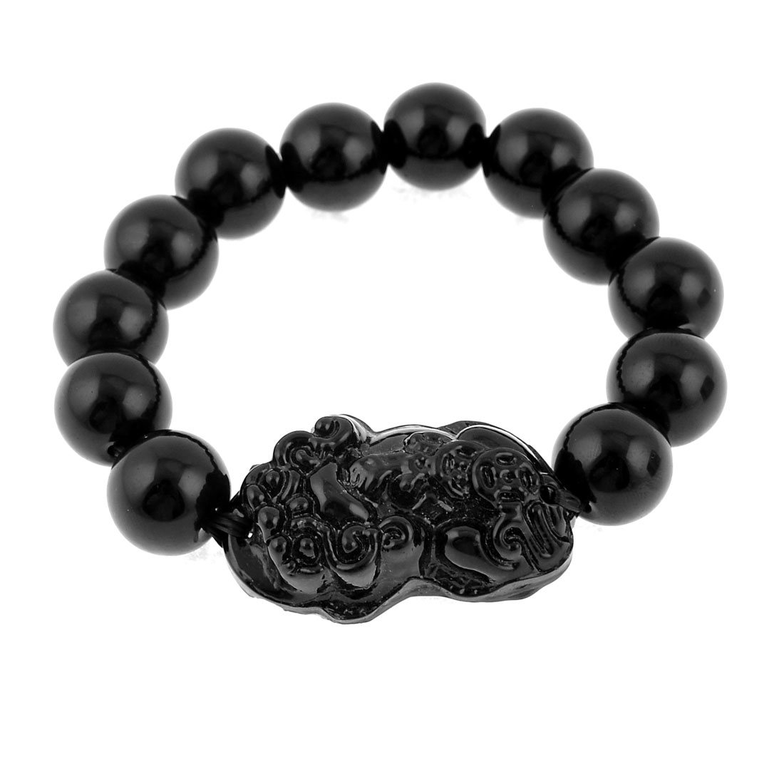 Black Round Shaped Buddha Character Beads Stretch Bracelet for Woman