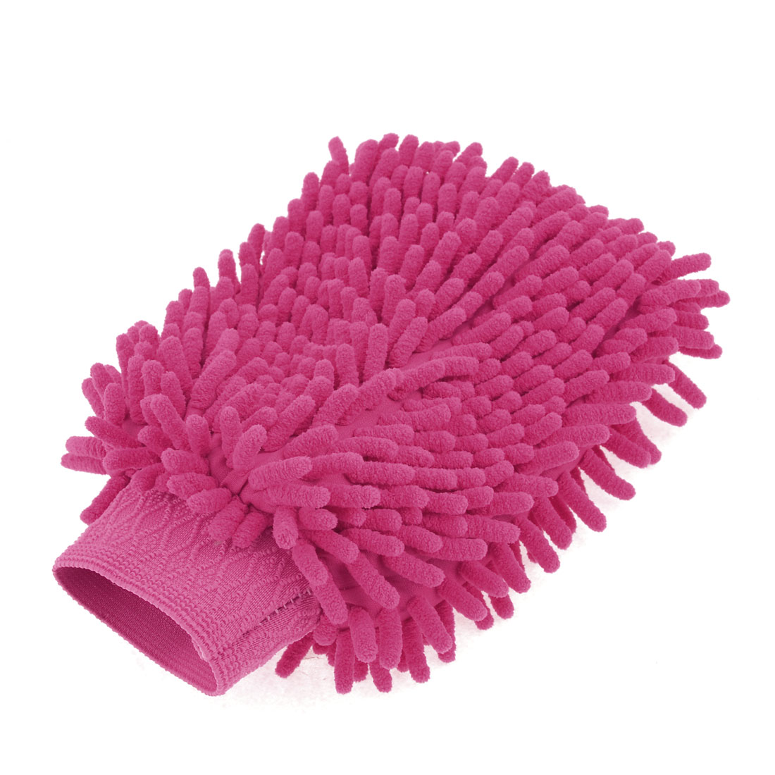 Household Stretch Chenille Furniture Window Scrubing Gloves Mittens Fuchsia
