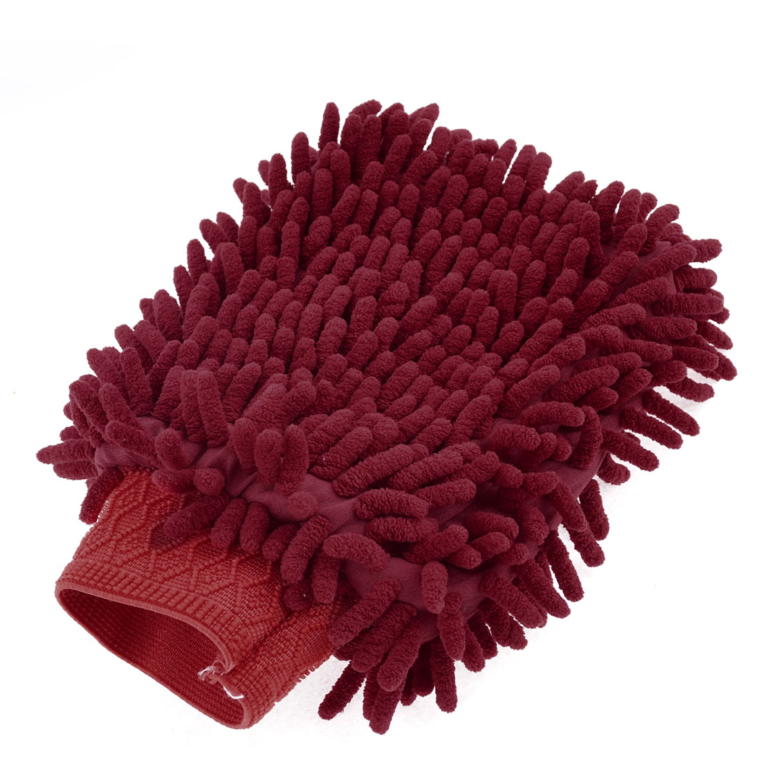 Household Stretch Chenille Furniture Window Scrubing Gloves Mittens Red