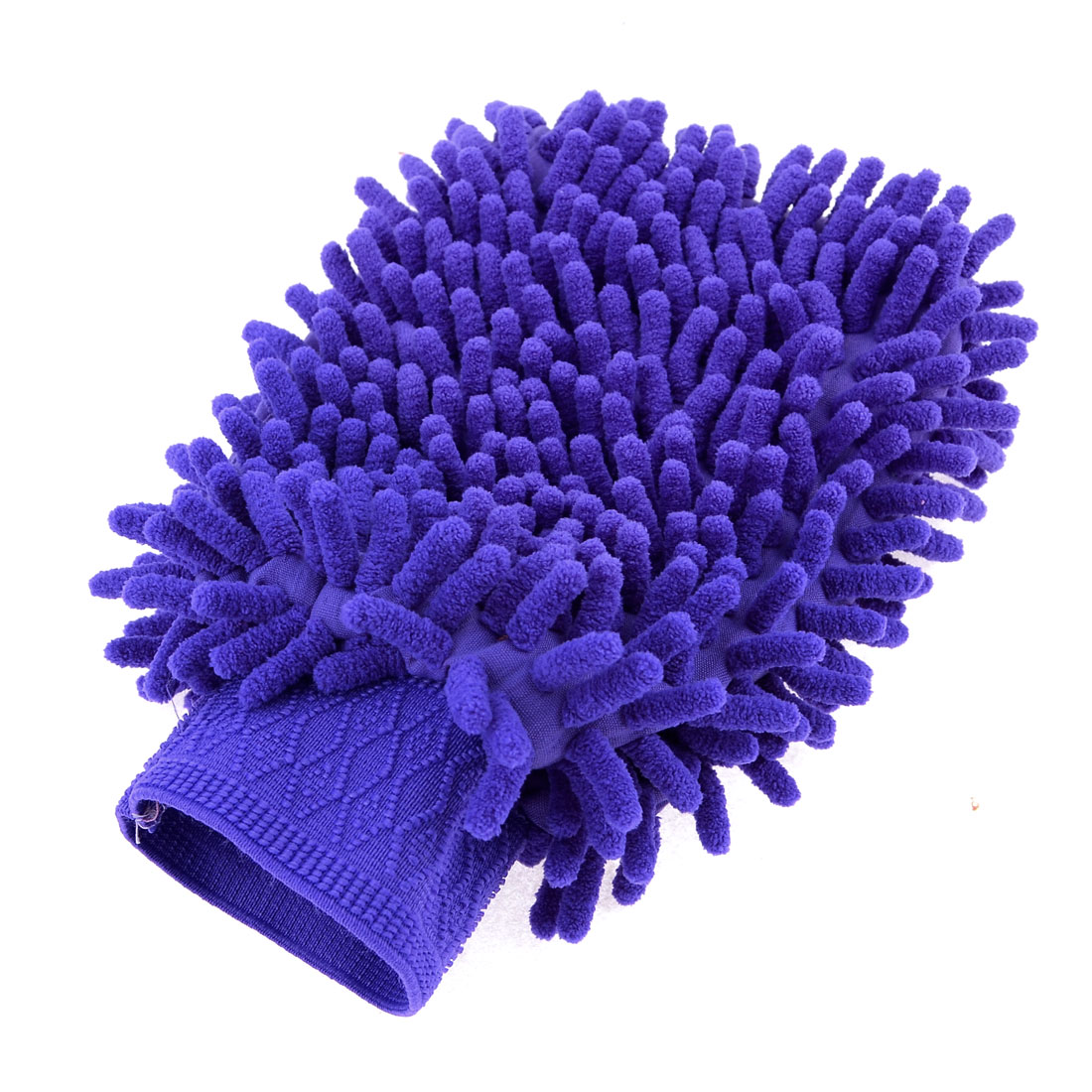 Household Stretch Chenille Furniture Window Scrubing Gloves Mittens Royal Blue