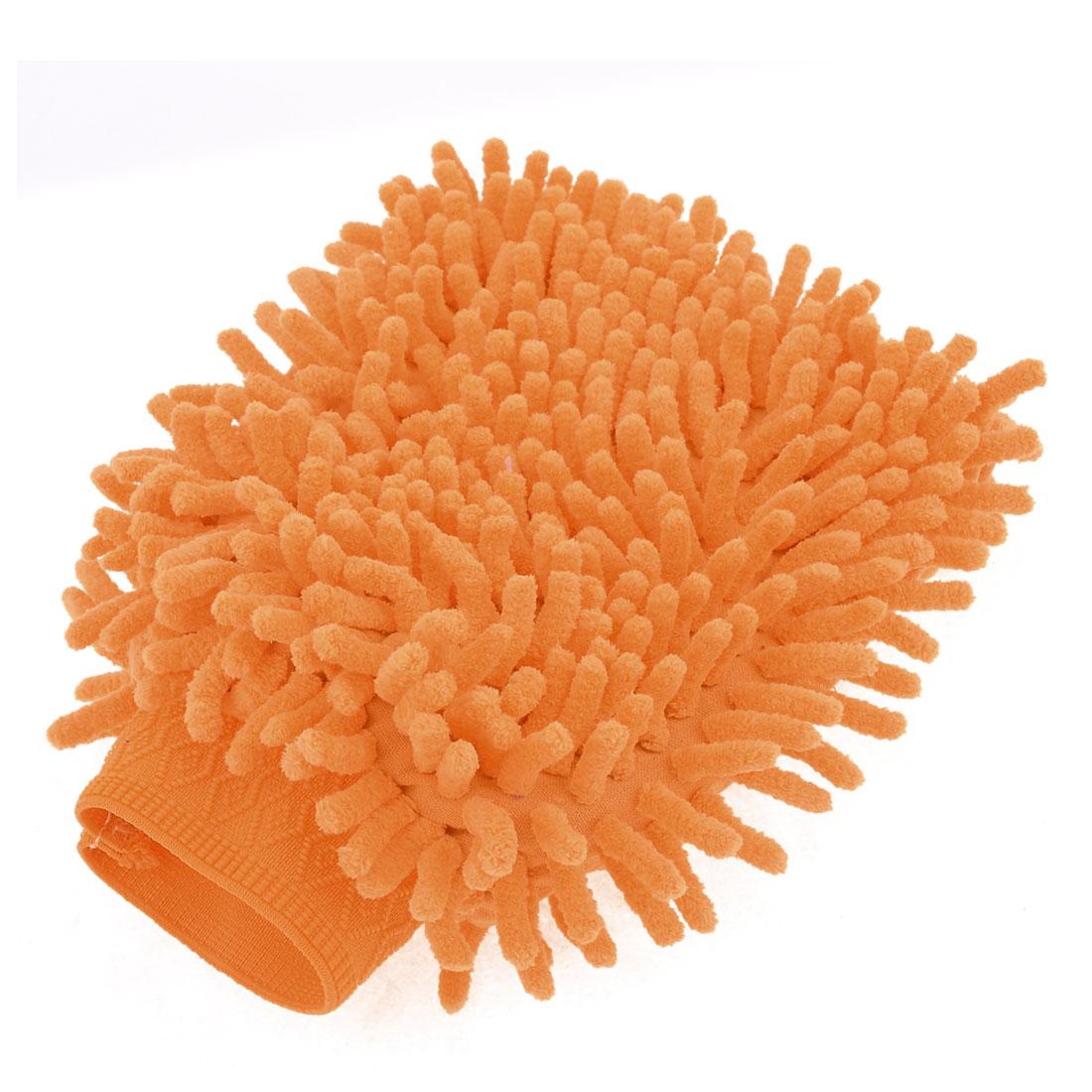 Household Stretch Chenille Furniture Window Scrubing Gloves Mittens Light Orange