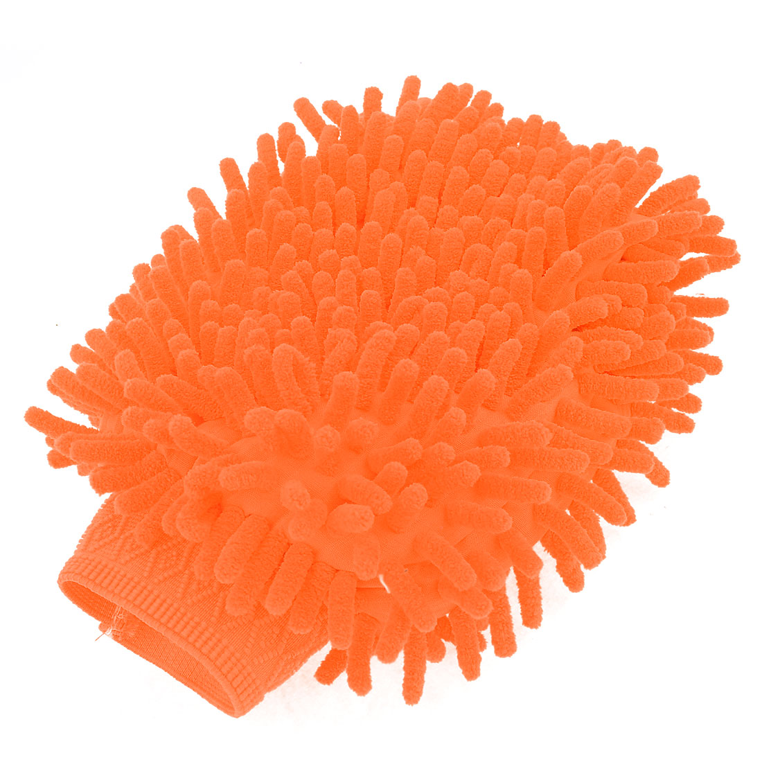Household Stretch Chenille Furniture Window Scrubing Gloves Mittens Orange
