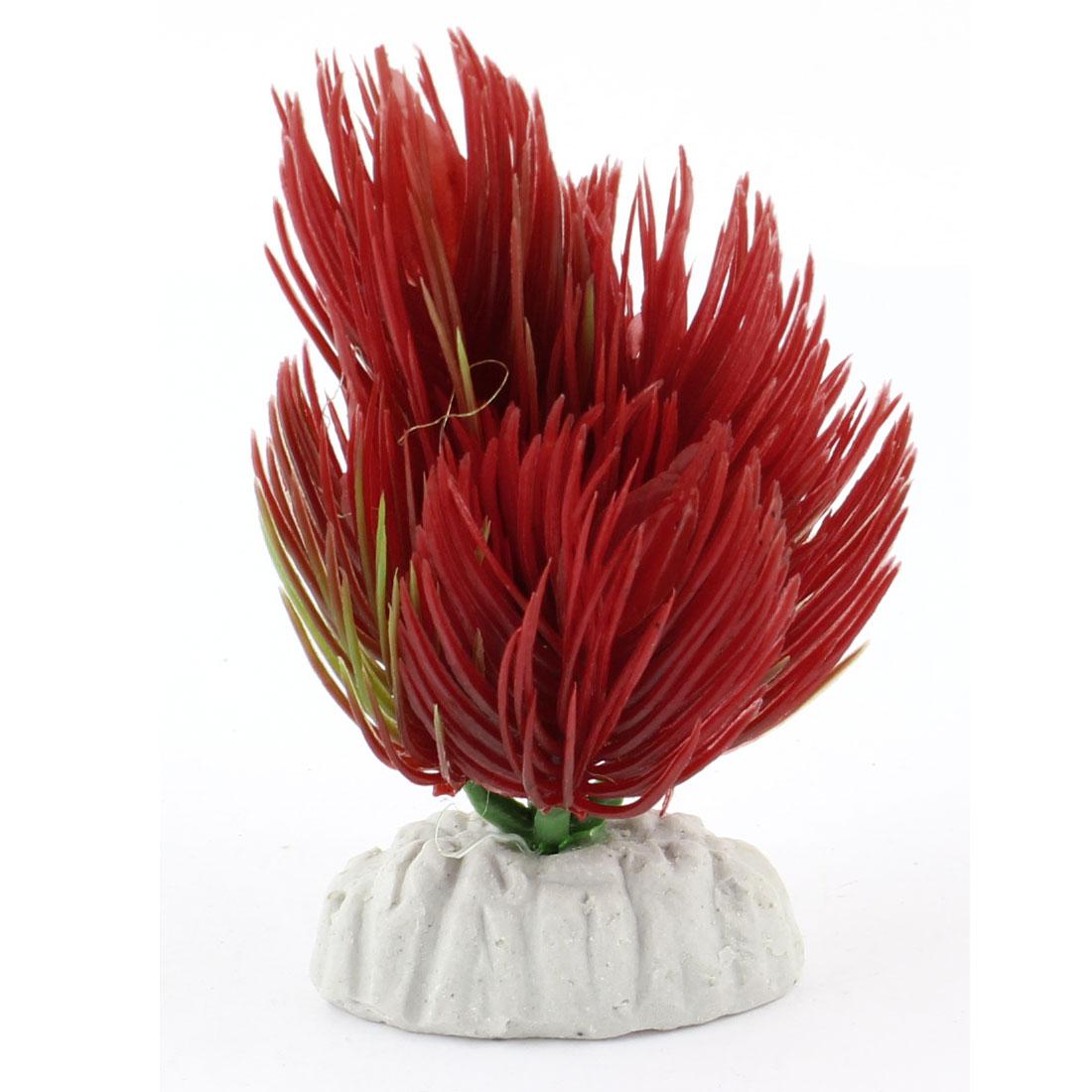 """3.5"""" Height Red Plastic Aquatic Grass for Fish Tank Aquarium"""