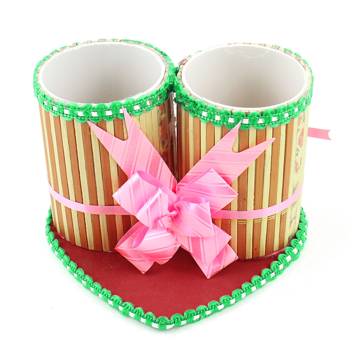 Pink Brown Green Heart Shape Bottom Eraser Pencil Pen Holder Organizer