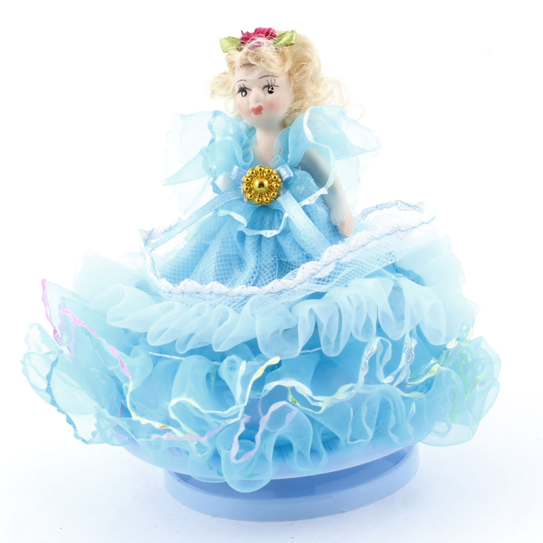 Wind Up Blue Cartoon Girl Lace Decor Dressing Gift Music Box