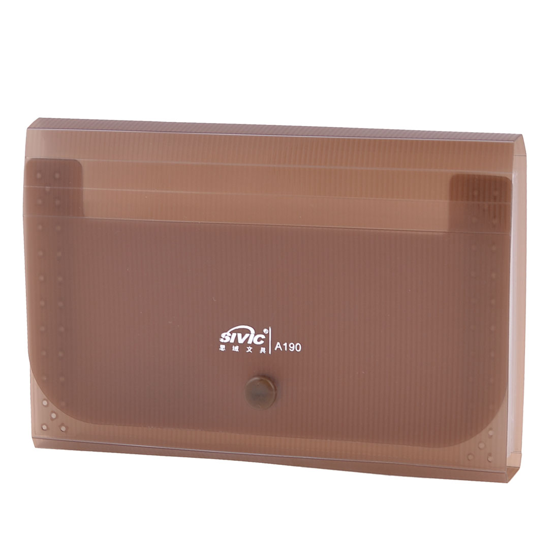 Clear 13 Pockets Press Stud Brown Plastic Receipt Coupon Organizer File Box