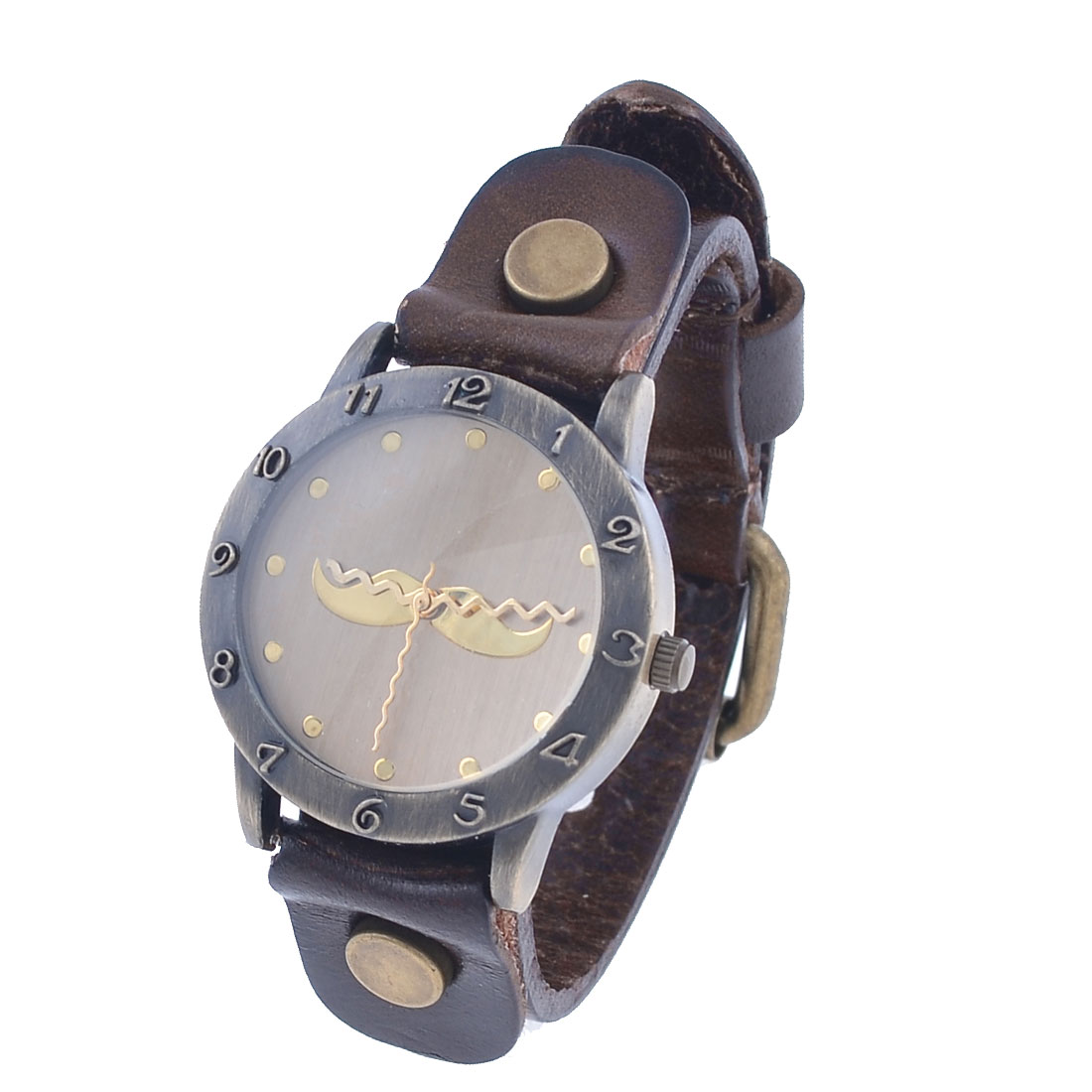 Dark Brown Faux Leather Wristband Round Dial Case Wrist Watch for Women