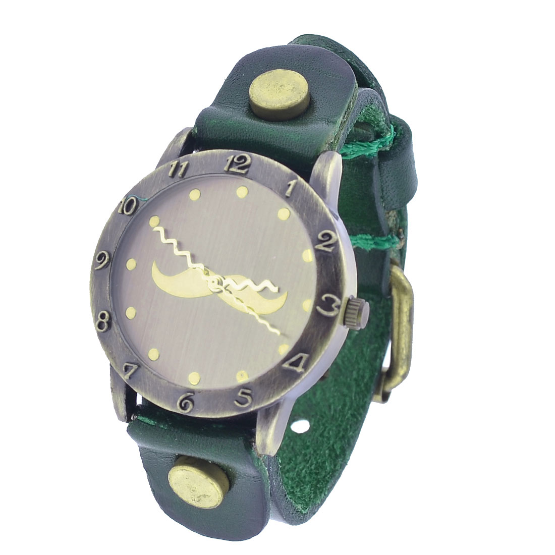 Dark Green Faux Leather Wristband Round Dial Case Watch for Women