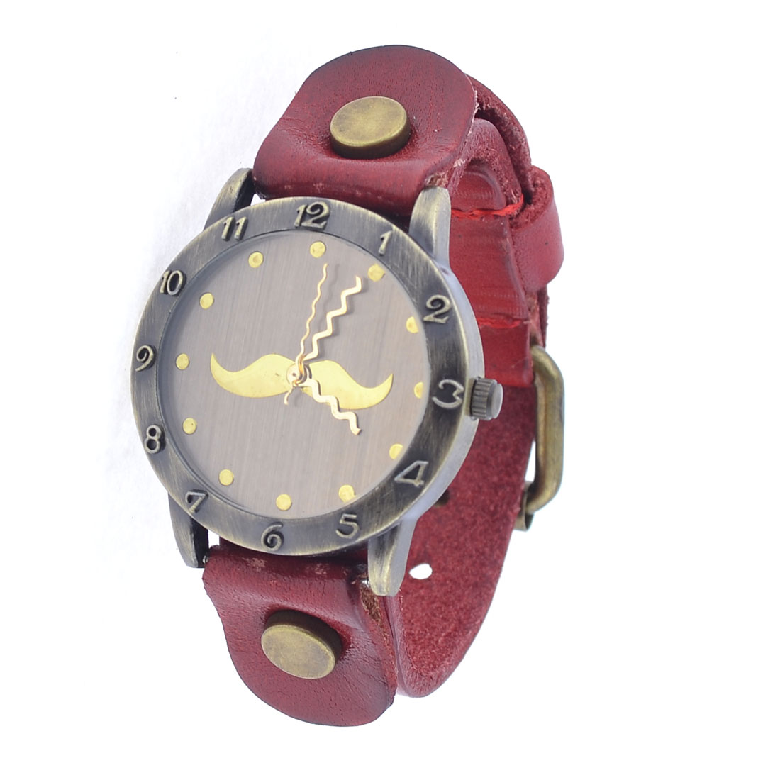 Burgundy Faux Leather Wristband Round Dial Case Watch for Women