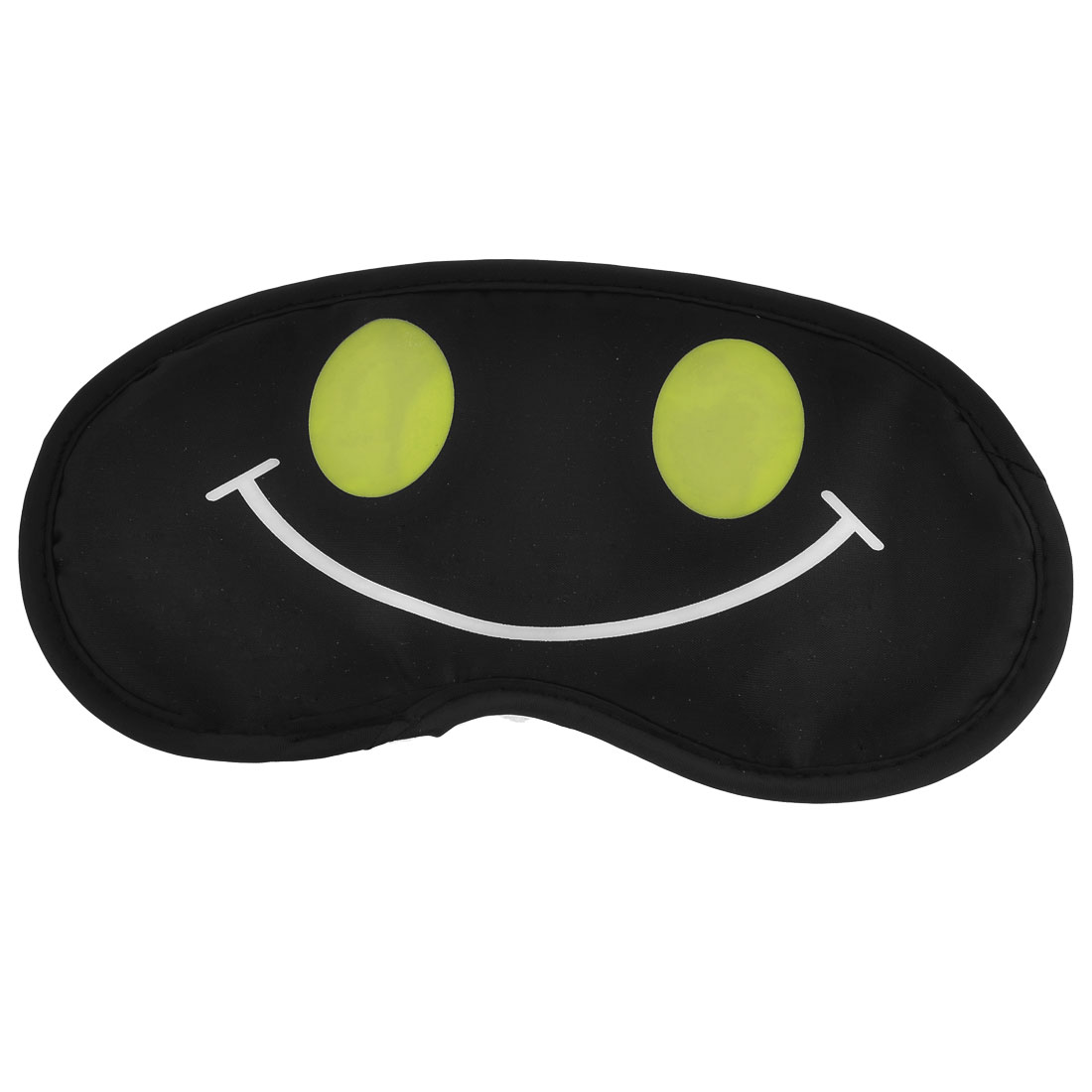 Travel Sleep Blindfold Smile Face Printed Eyepatch Eye Mask Black