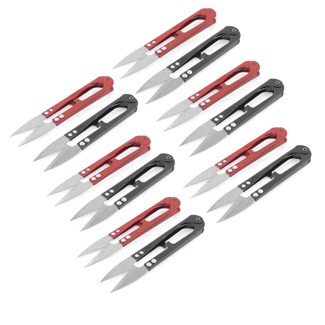 12 Pcs Red Black Handy Sharp Mini Thrum Yarn Scissors for Cross Stitch