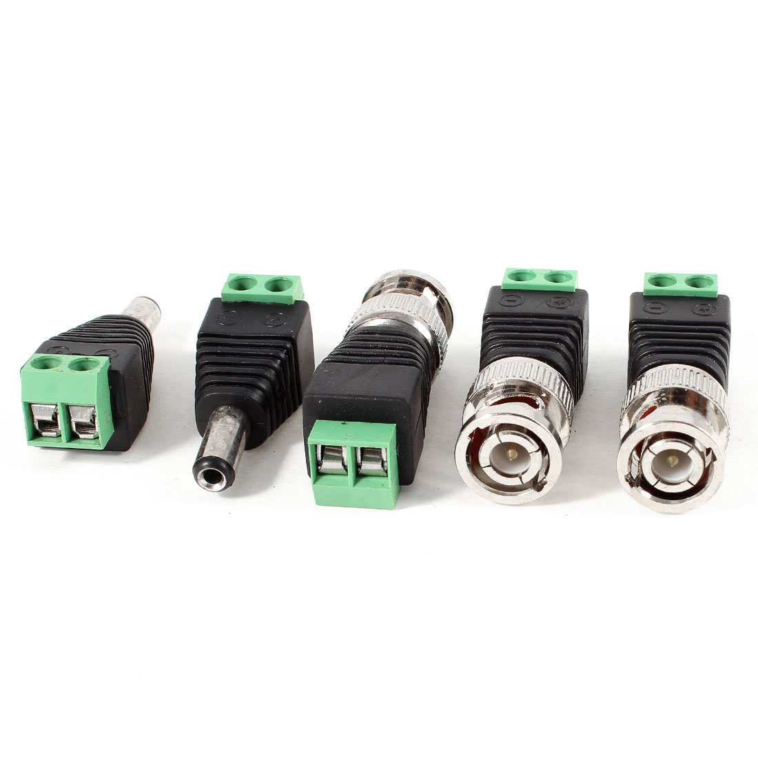 3 Pcs Coax Cat5 to BNC Male + 2 Pcs 5.5x2.1mm Male Plug DC Power CCTV Connector