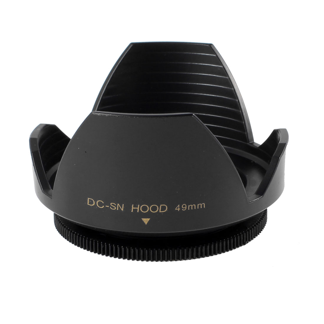 Black Plastic Crown Flower Shape Screw Mount 49mm Lens Hood