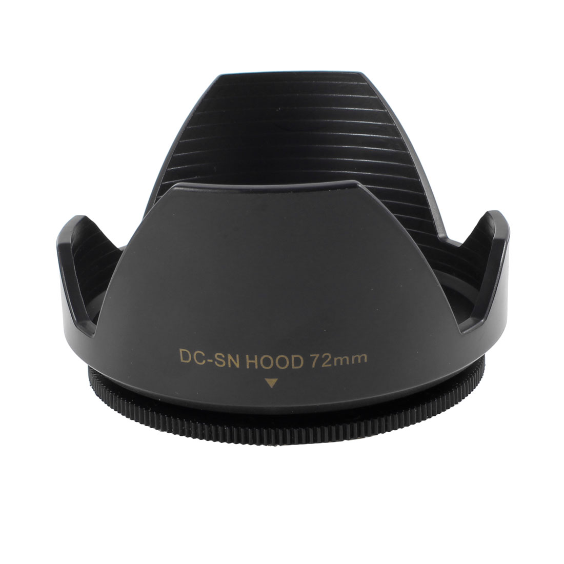 Black Plastic Crown Flower Shape Screw Mount 72mm Lens Hood