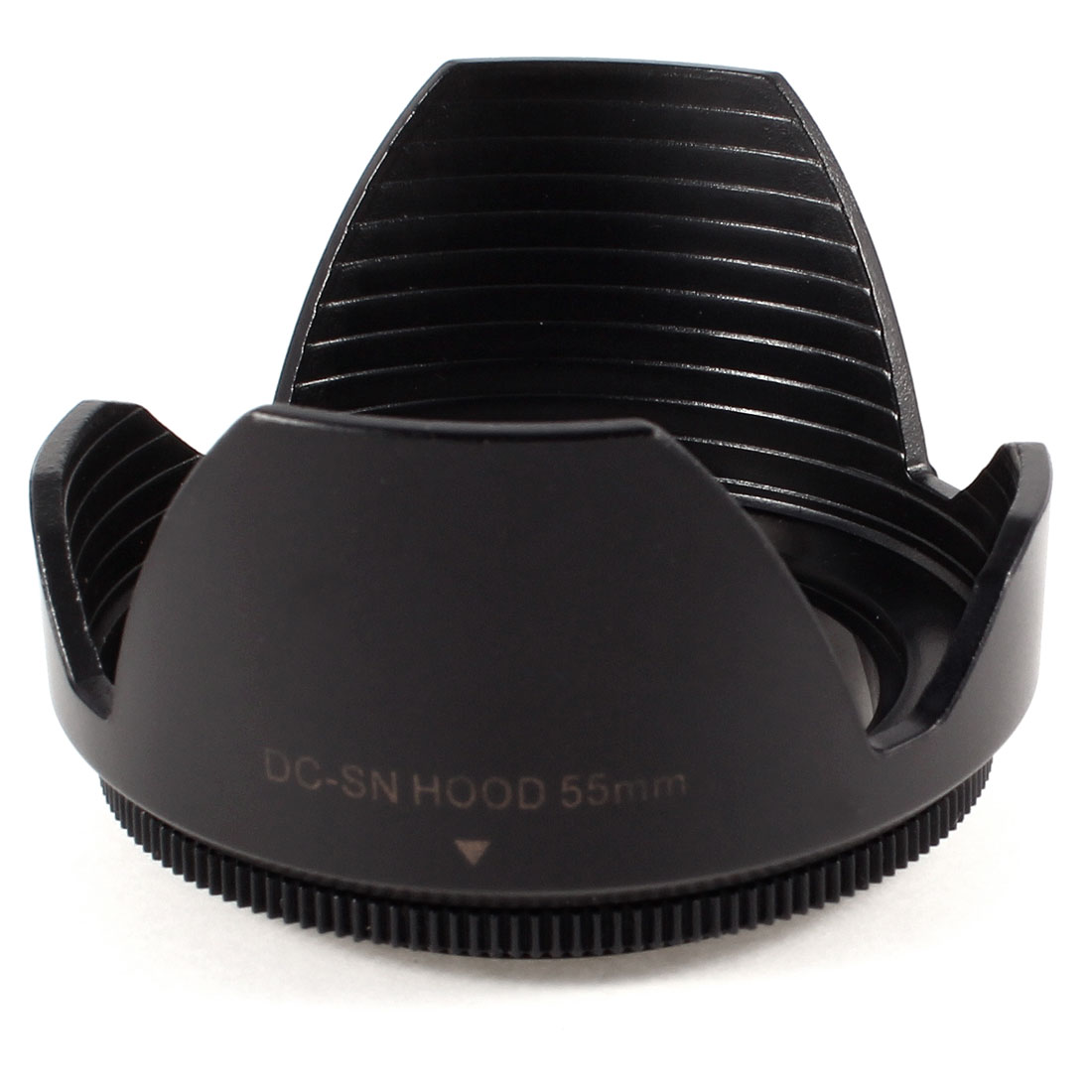Black Plastic Crown Flower Shape Screw Mount 55mm Lens Hood