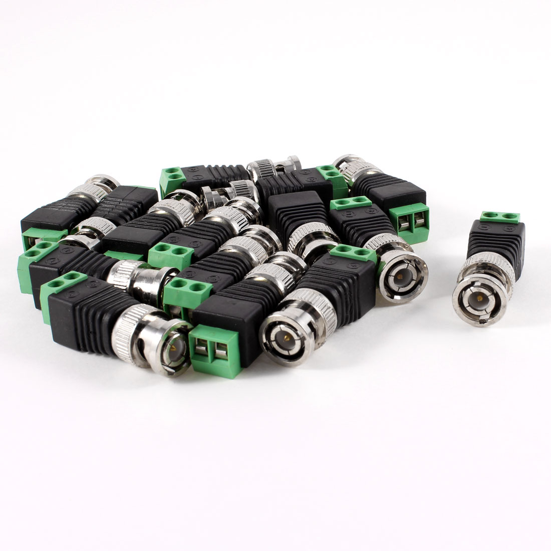 15 Pcs Screw Terminal Coaxial Coax Cat5 to BNC Male Video Balun Connectors