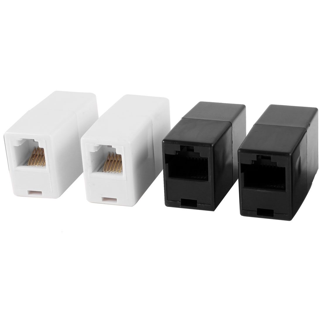 2 Pcs White RJ11 6P6C Telephone Cable Coupler + 2 Pcs Black RJ45 8P8C Ethernet Connector