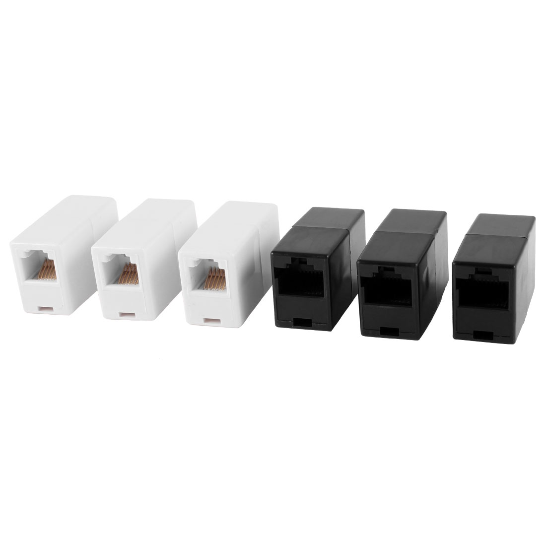 3 Pcs White RJ11 6P6C Telephone Cable Coupler + 3 Pcs Black RJ45 8P8C Ethernet Connector