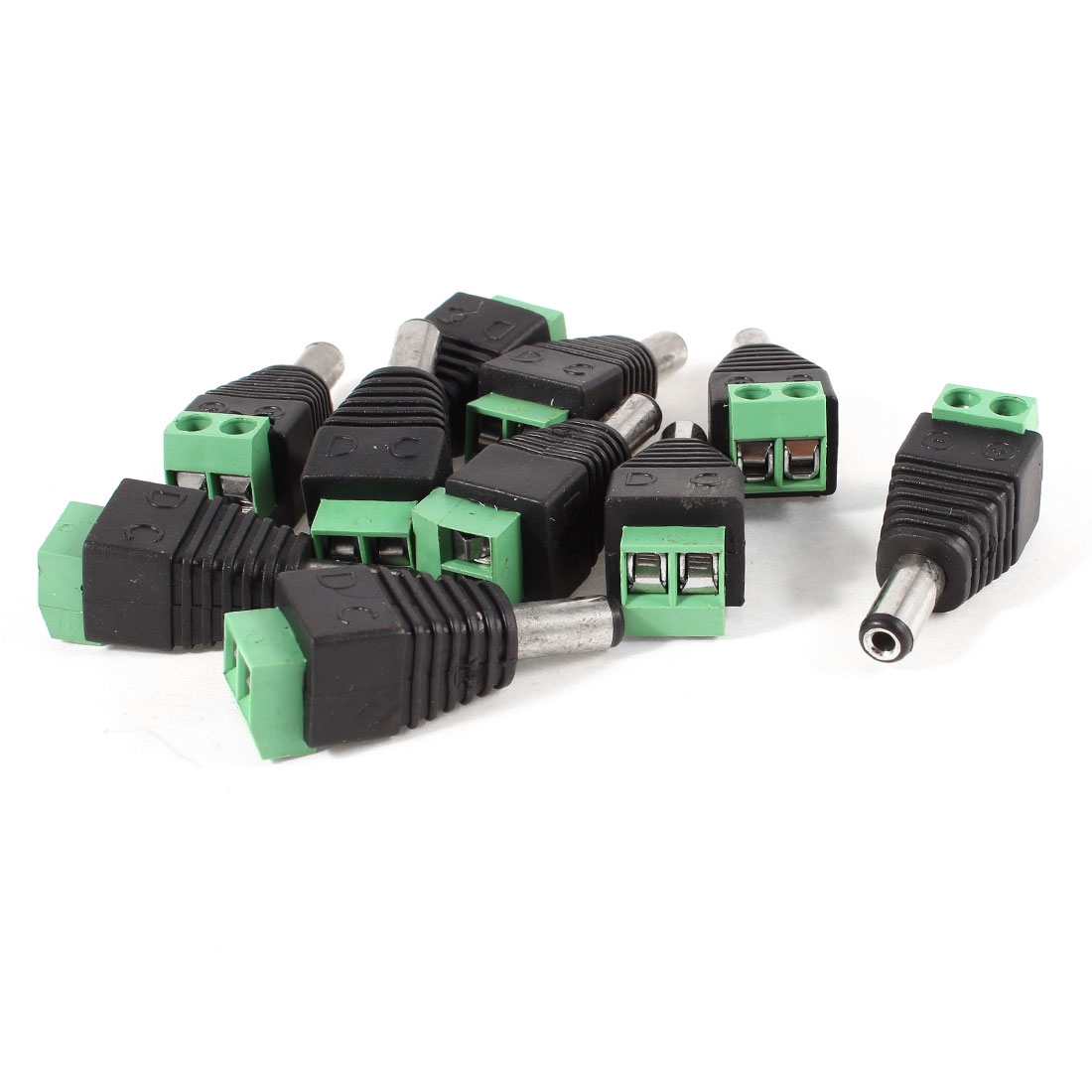 10 Pcs Black Green 5.5x2.1mm Male CCTV DC Power Jack Terminal Connector