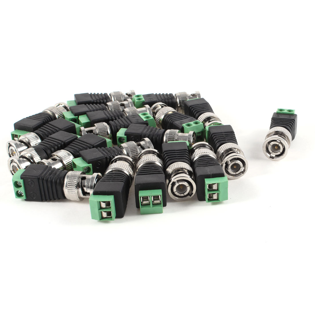 20 Pcs Screw Terminal Coaxial Cat5 to BNC Male Video Balun Adapter Connectors