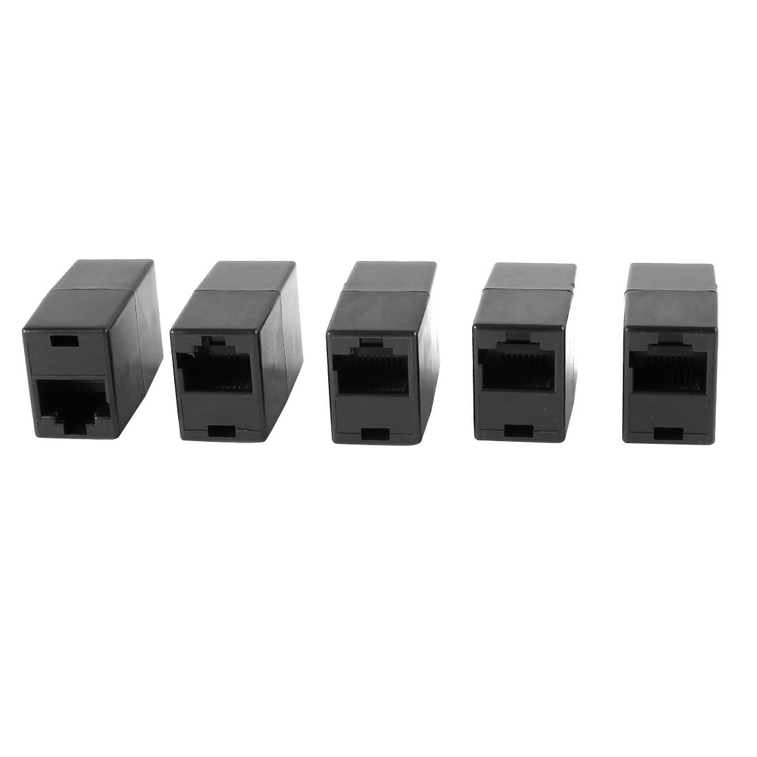 5 Pcs Black 8P8C RJ45 to RJ45 Female/Female Ethernet Inline Connector Coupler