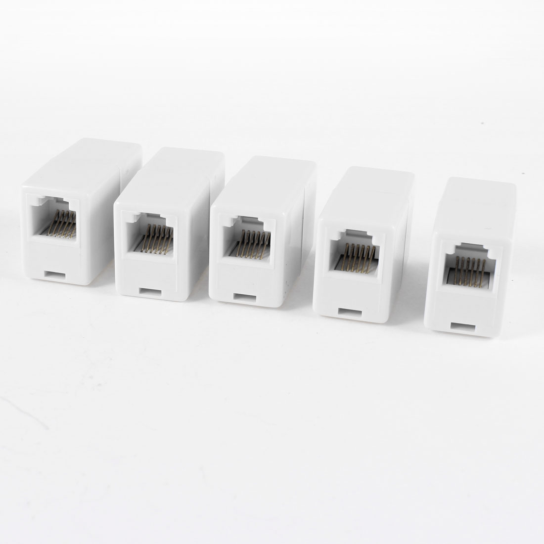 5 Pcs White Plastic Housing RJ11 Female/Female Telephone Cable Inline Connector