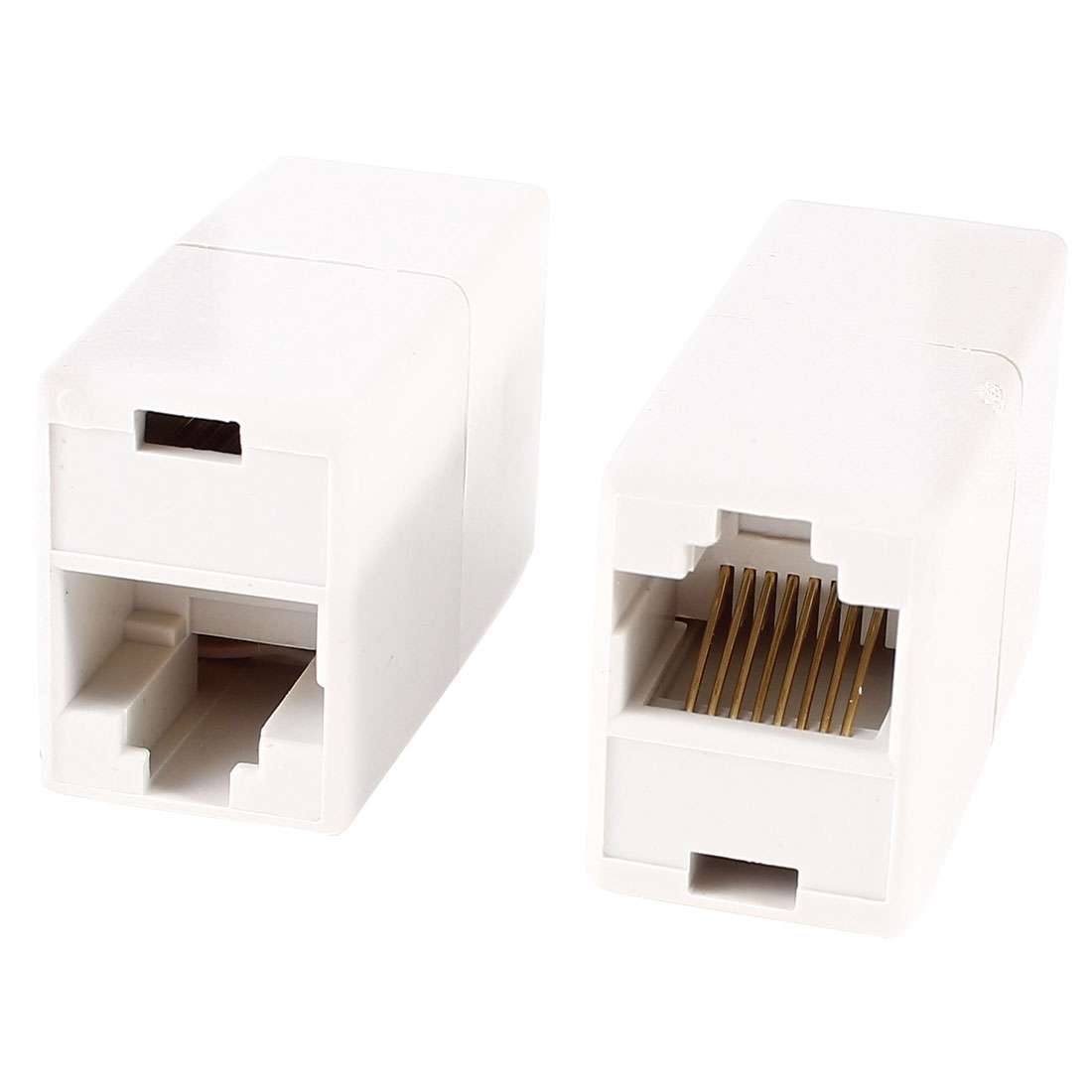 2 Pcs White RJ45 8P8C Female to Female Network Cable Coupler Connector