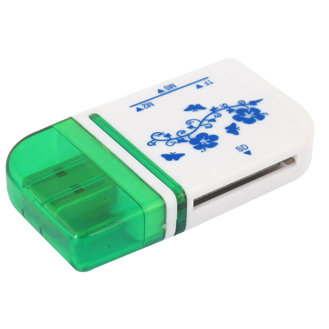 Plastic Clear Green White Blue USB 2.0 SD MMC TF M2 Multislot Memory Card Reader
