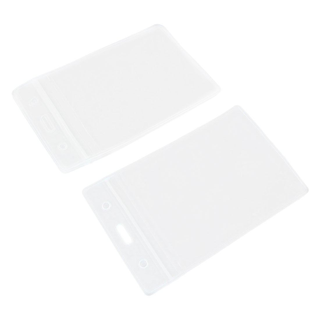5 Pcs Office School Clear Waterproof Vertical Compact ID Card Badge Holders