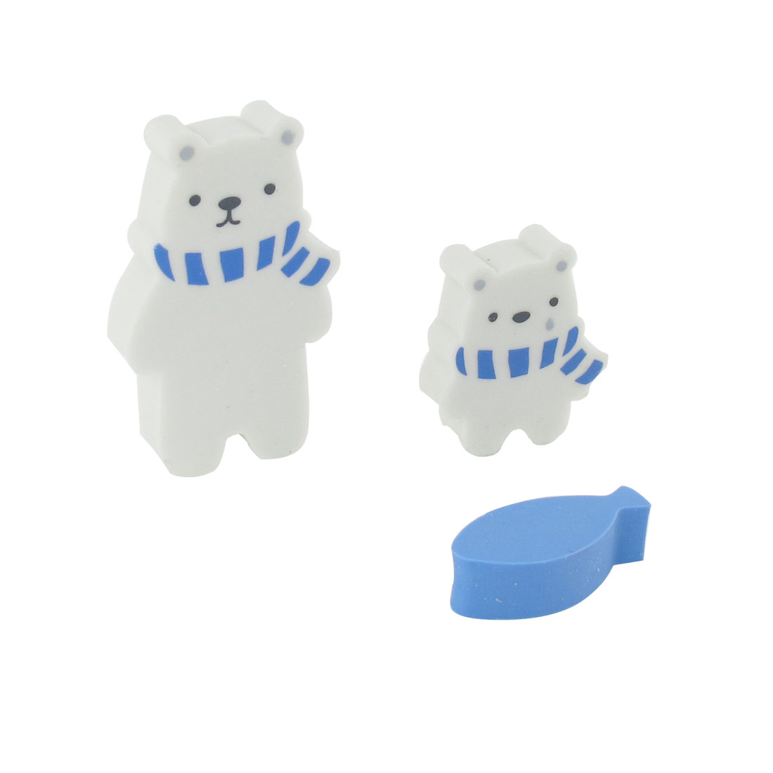 Students Blue White Bear Fish Shape Mini Rubber Erasers 3 Pcs