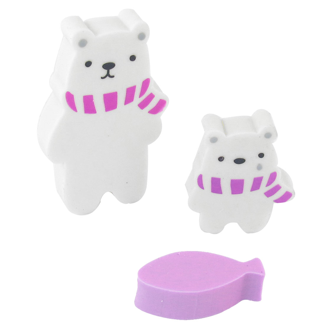 Students Purple White Black Bear Fish Shape Mini Rubber Erasers 3 Pcs