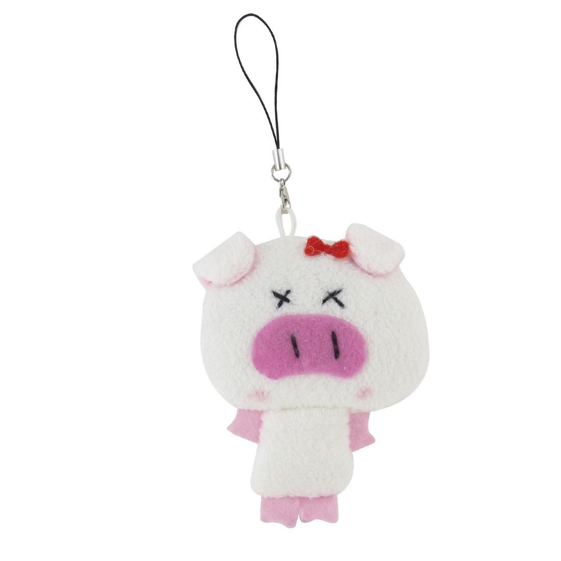 White Fleece Bowtie Decoration Pig Pendant Phone Strap
