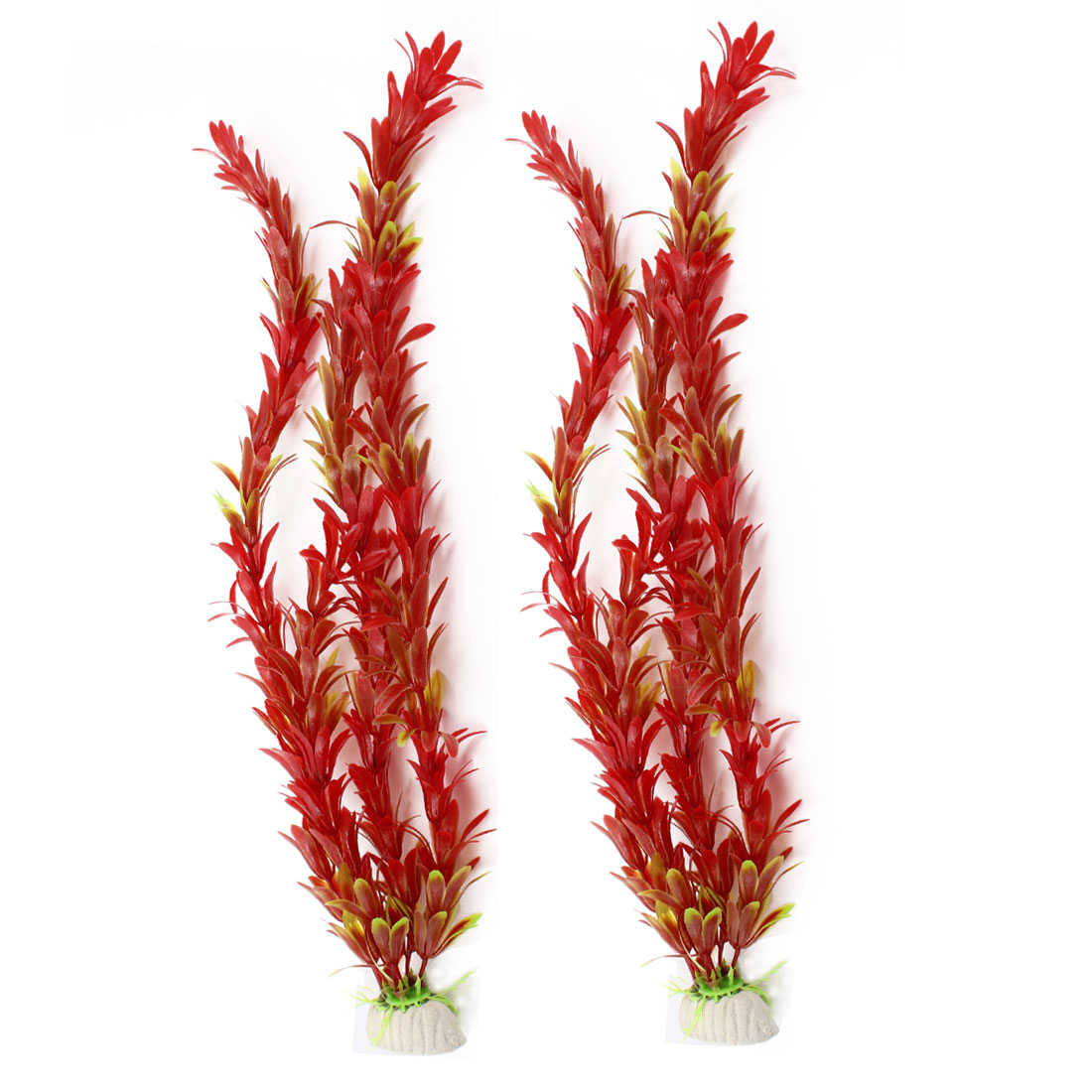 "Pair 14.4"" Height Carmine Green Artificial Underwater Plant for Aquarium"