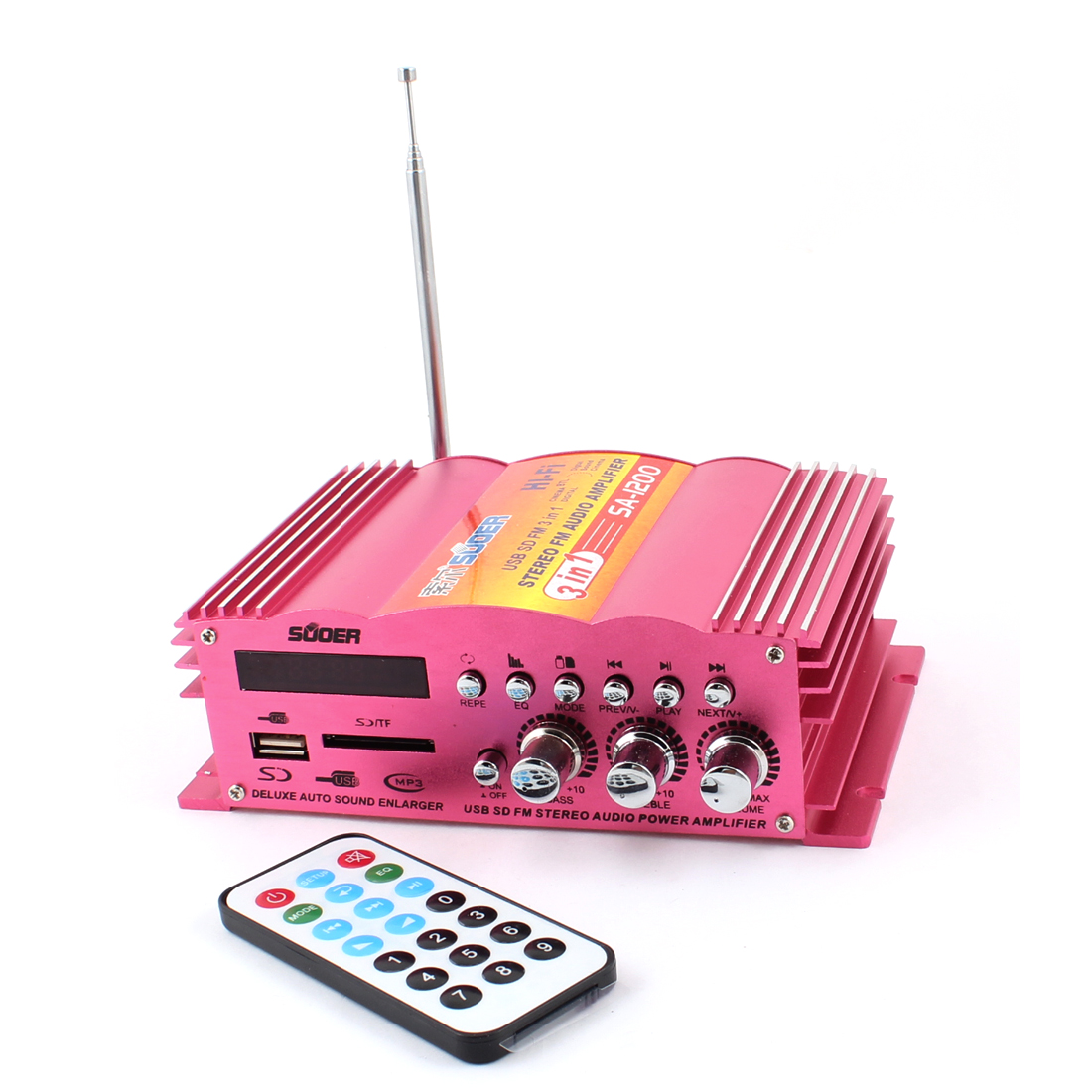 USB SD FM Motorcycle Car Stereo Audio Amplifier Fuchsia