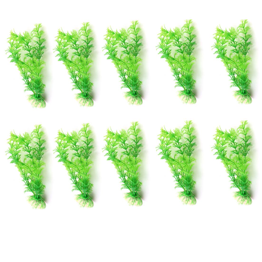 """10 Pcs 6.3"""" Height Green Artificial Underwater Plant for Aquarium"""