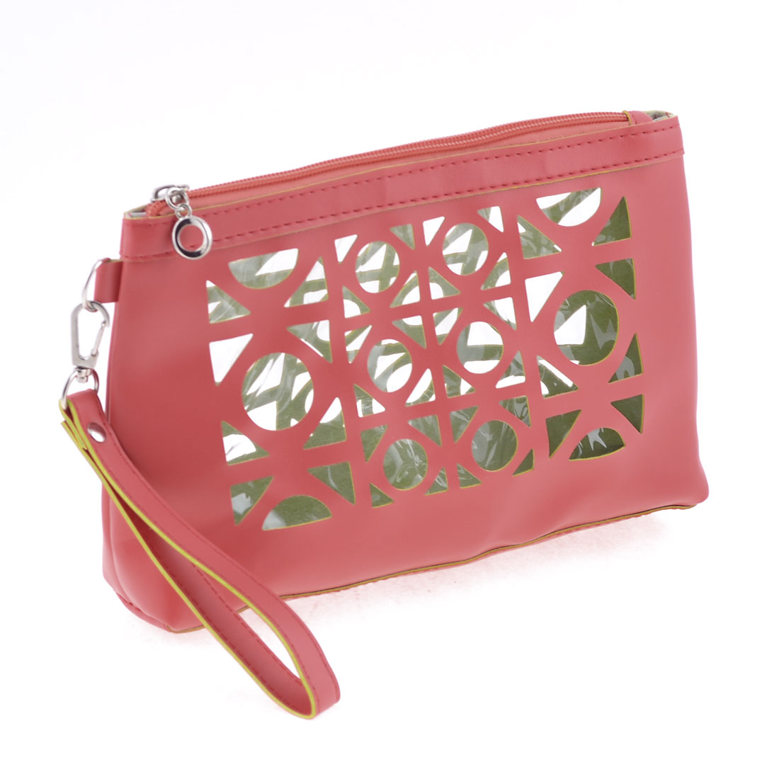 Zippered One Compartments Magenta Faux Leather Hand Purse Bag for Woman