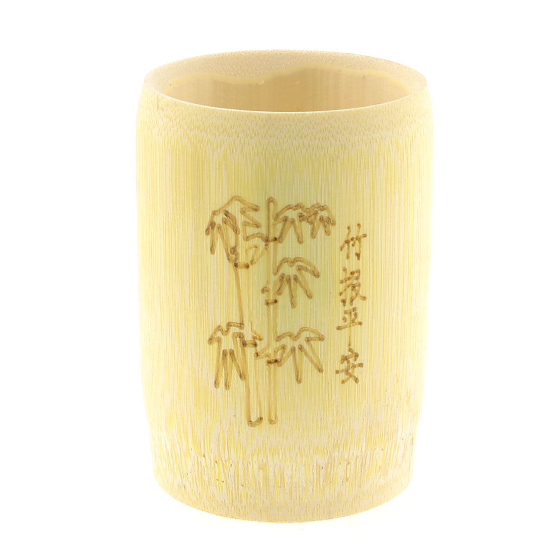 150ml Wooden Color Carved Pattern Cylinderical Bamboo Water Cup Bottle