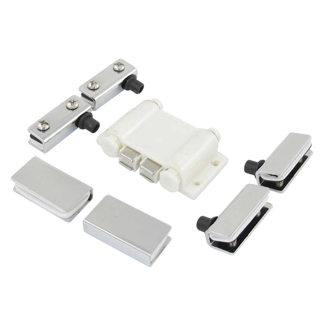 Metal Clamp Double Push Head Cupboard Magnetic Catch Hardware Off White