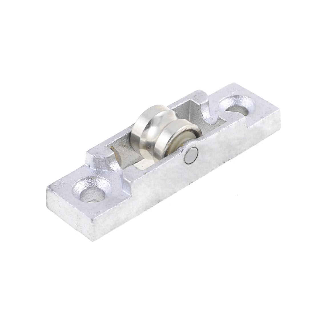 "0.47"" Diameter One Roller Metal Window Pulley Silver Tone"