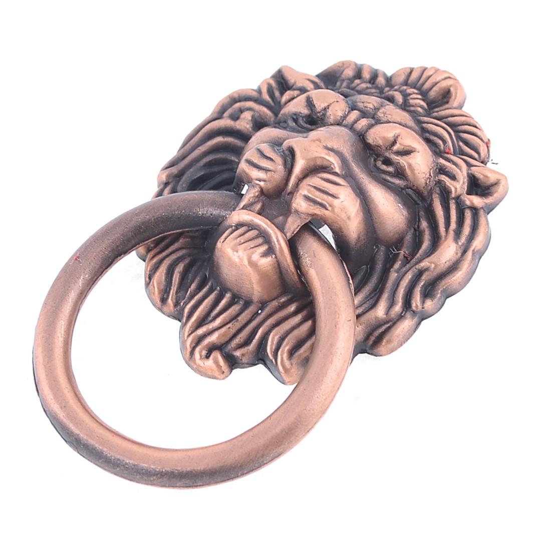 Lion Shaped 3.7cm Ring Diameter Copper Tone Metallic Room House Door Pull Knob