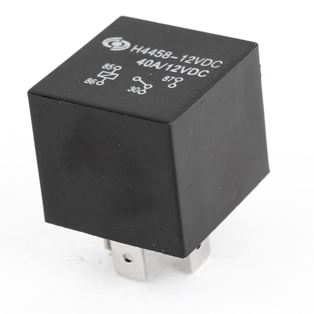 DC 12V 40A Black Plastic 4 Pins SPST Automotive Alarm Relay