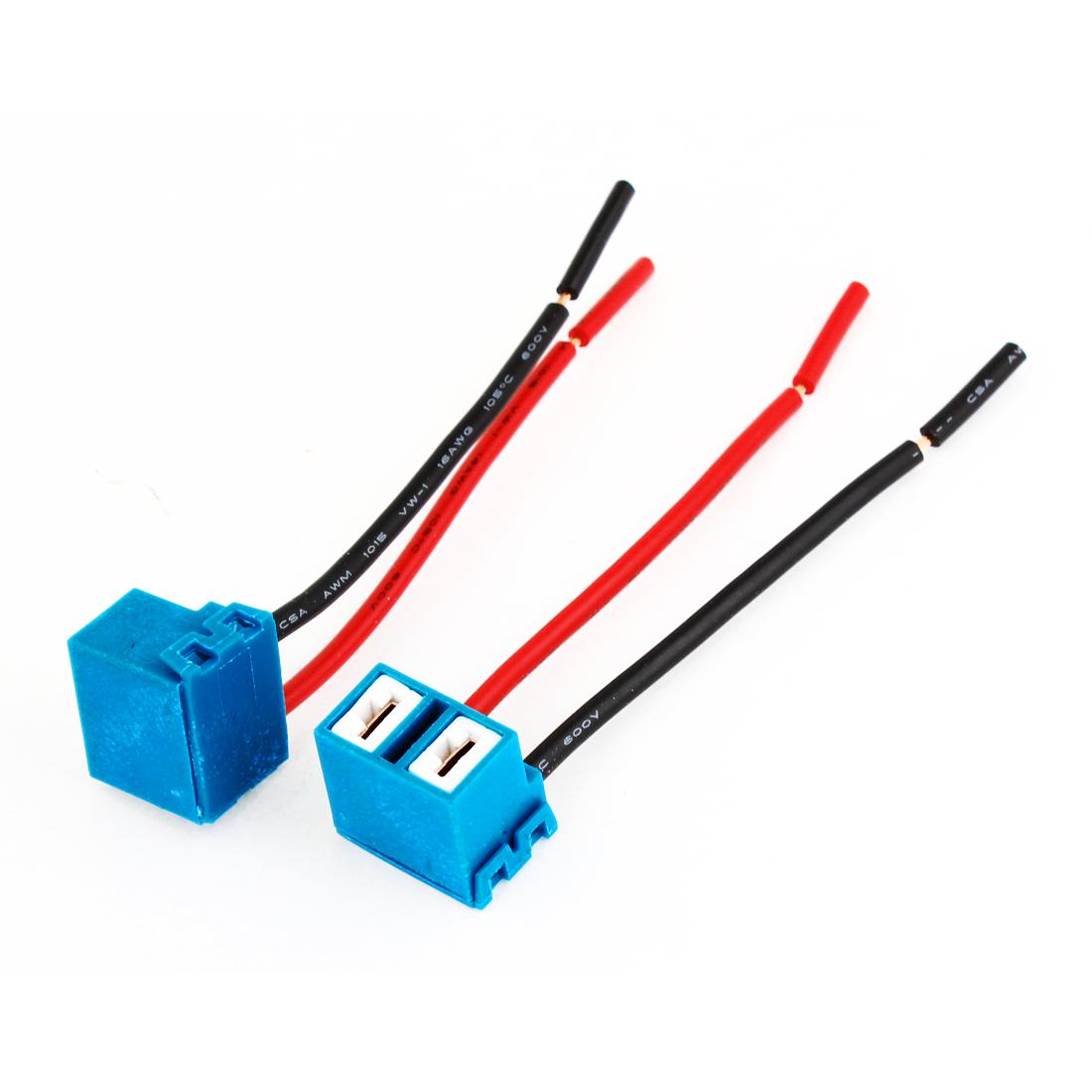 2 x H7 Ceramic Headlight Light Bulb Wire Connector Socket for Car