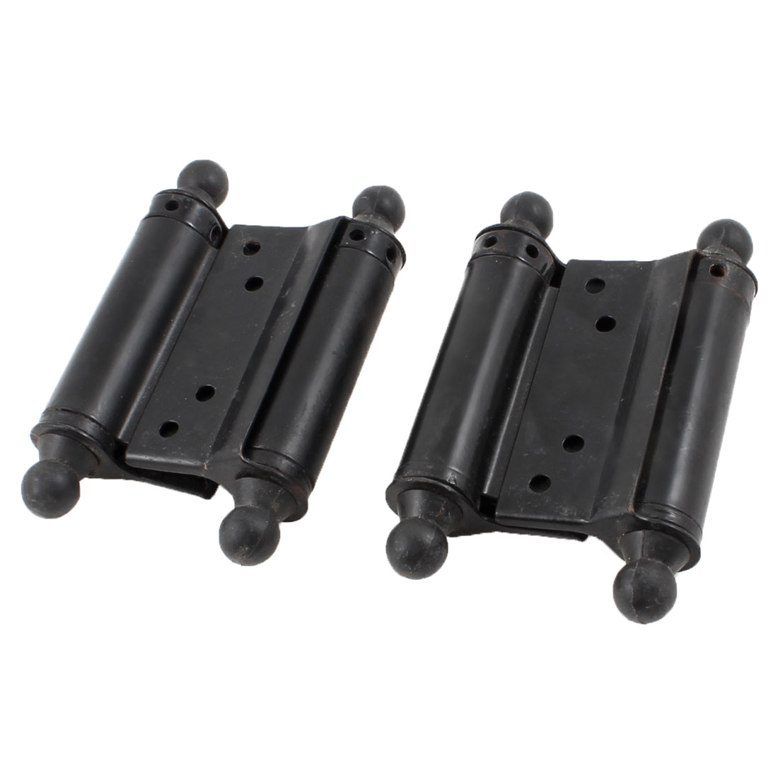 2 Pcs Black Dual Spring Loaded Metal House Room Gate Door Hinges 11cm
