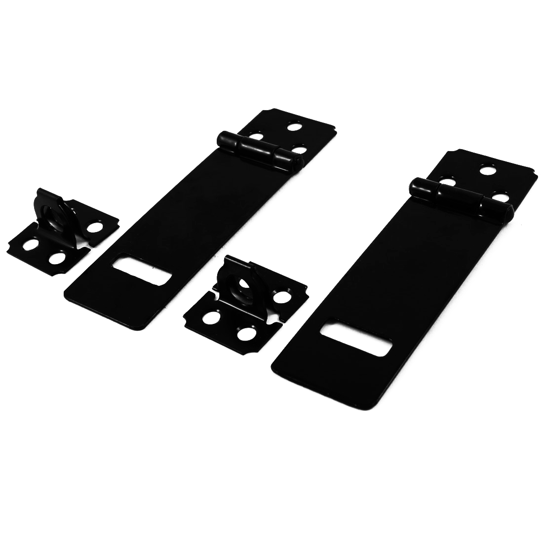 2 Set Door Safety Lock Black Metal Padlock Hasp Staple Set 90mm Long