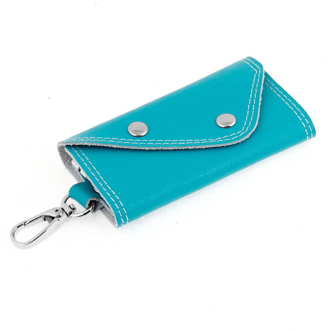Cyan Faux Leather 5 Keyrings Foldable Keys Holder Case Purse Wallet